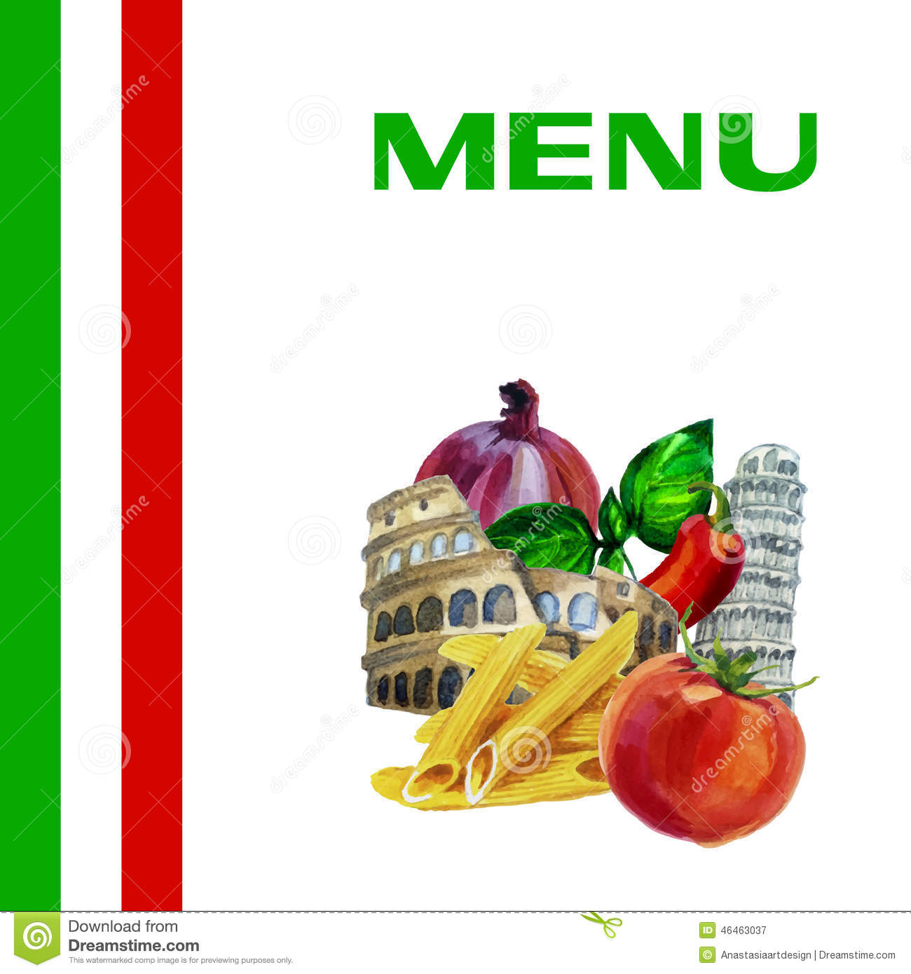 italian cuisine menu design background stock vector - illustration