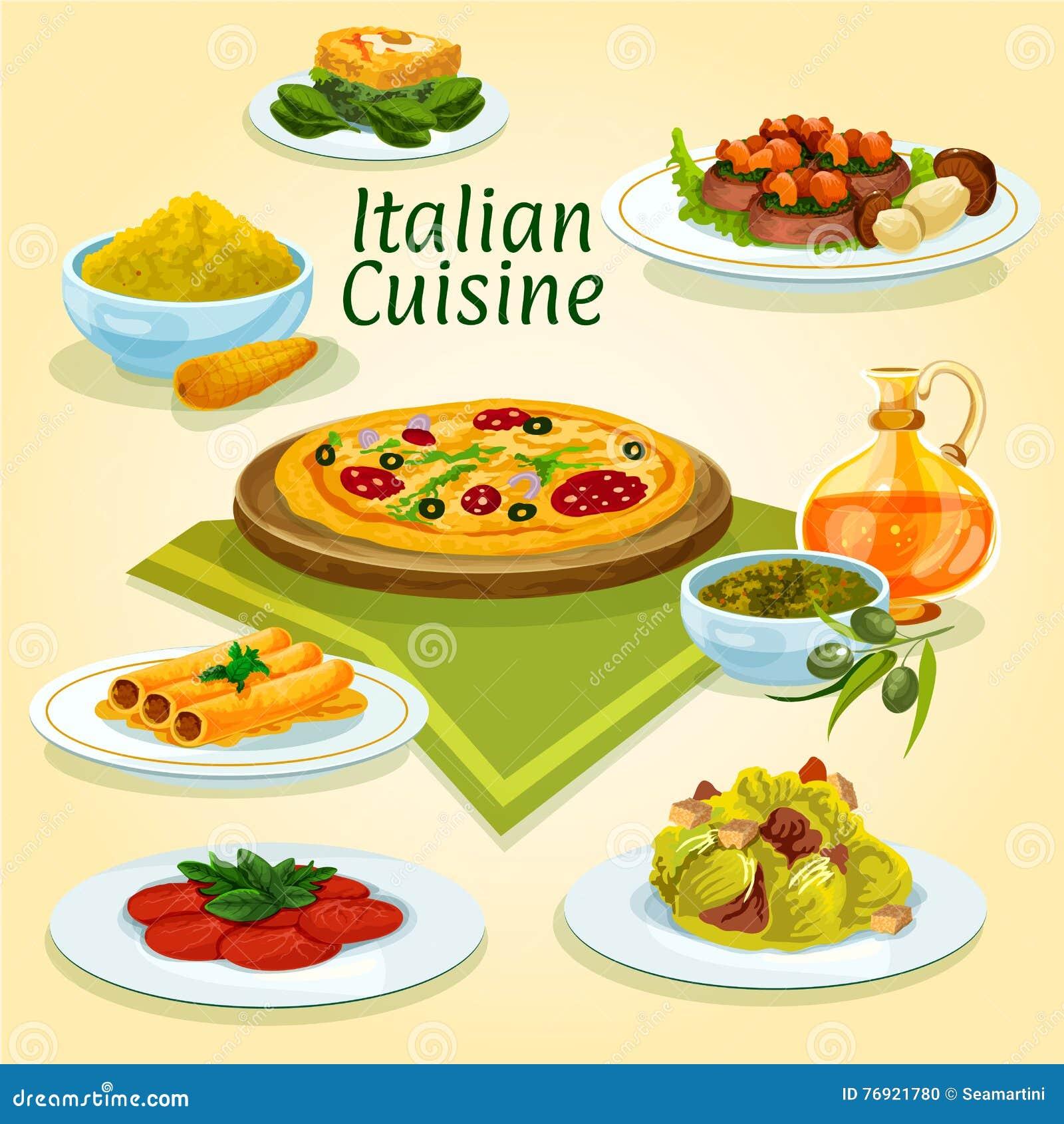 Italian cuisine national dishes for menu design stock - Italian cuisine menu list ...