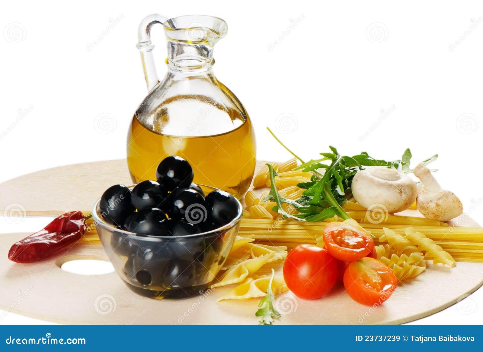 Italian cuisine pasta and olive oil stock image image - Italian cuisine pasta ...