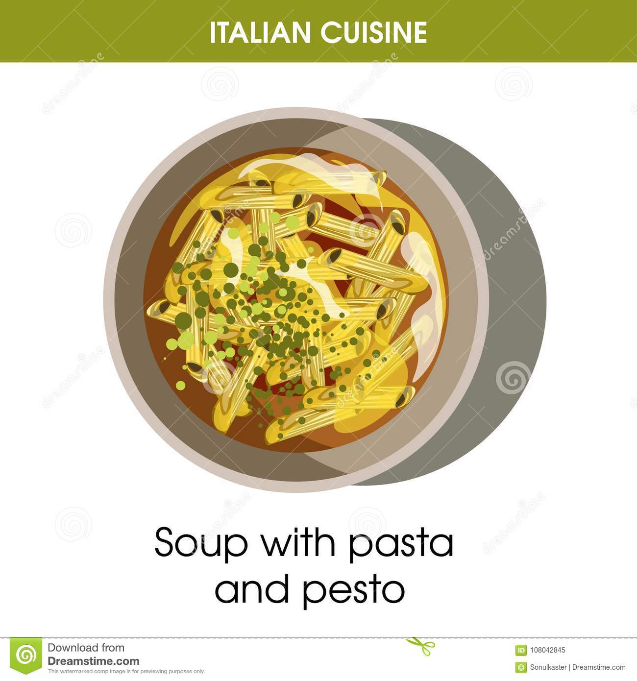 Italian cuisine soup of pasta and pesto vector icon for restaurant royalty free vector download italian cuisine soup of pasta forumfinder Images