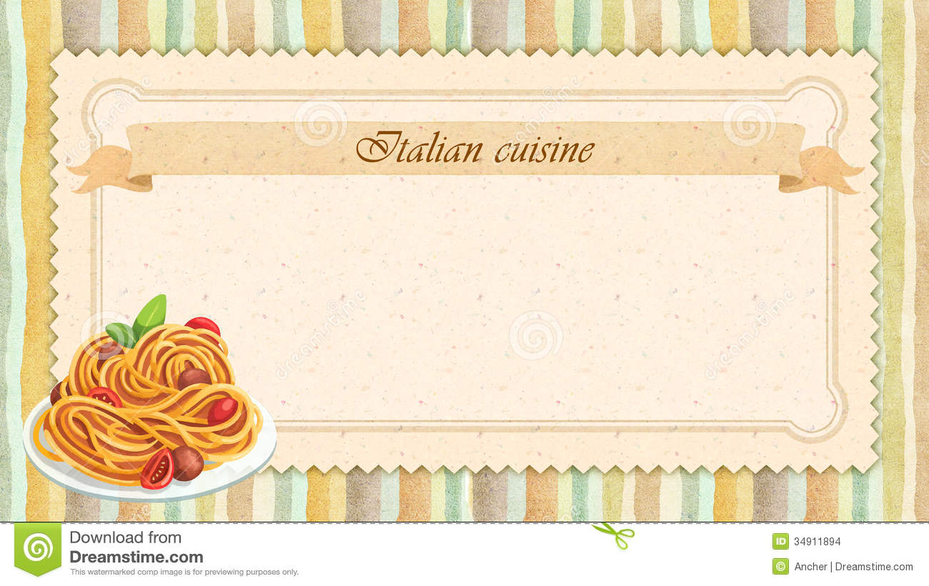 italian cuisine restaurant menu card design in vintage style stock images image 34911894. Black Bedroom Furniture Sets. Home Design Ideas