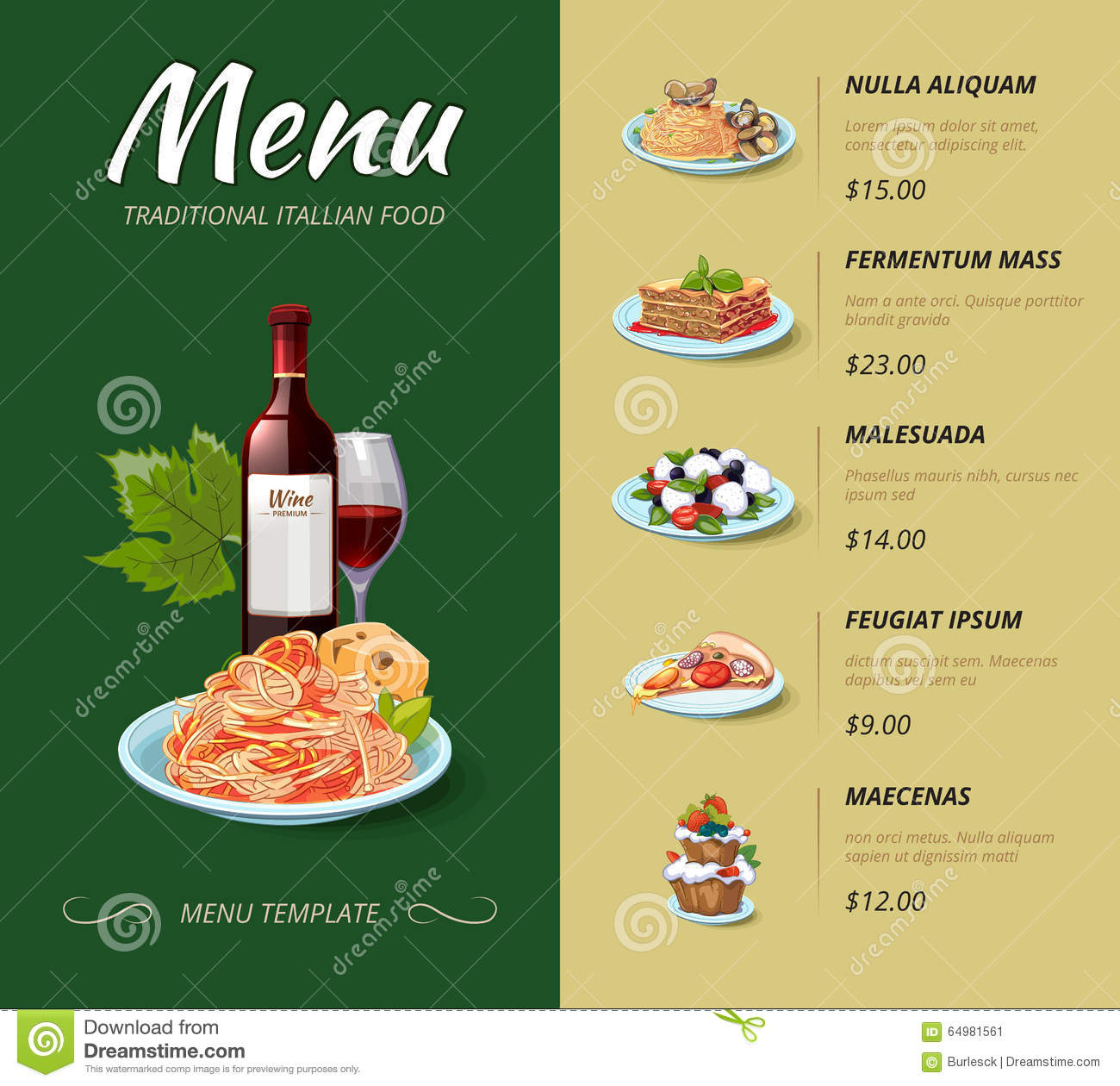 Italian food menu items images for Cuisine design