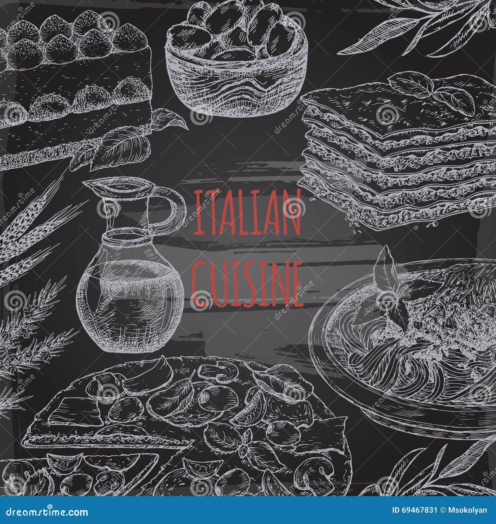 italian cuisine template on blackboard bavkground stock vector