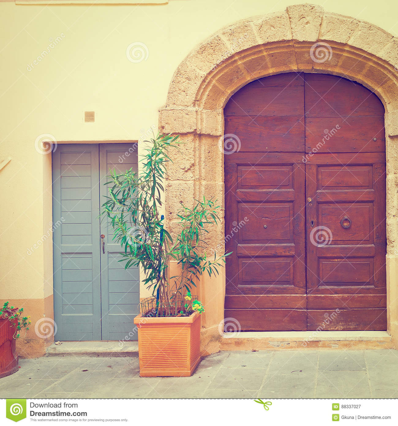Wooden Ancient Italian Door In Historic Center, Instagram Effect