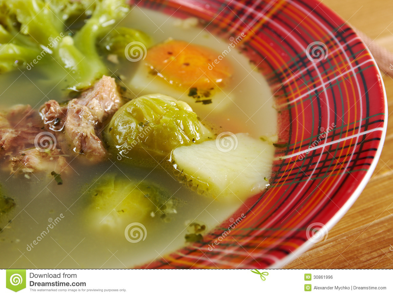 Italian Farm-style Soup With Broccoli Royalty Free Stock ...