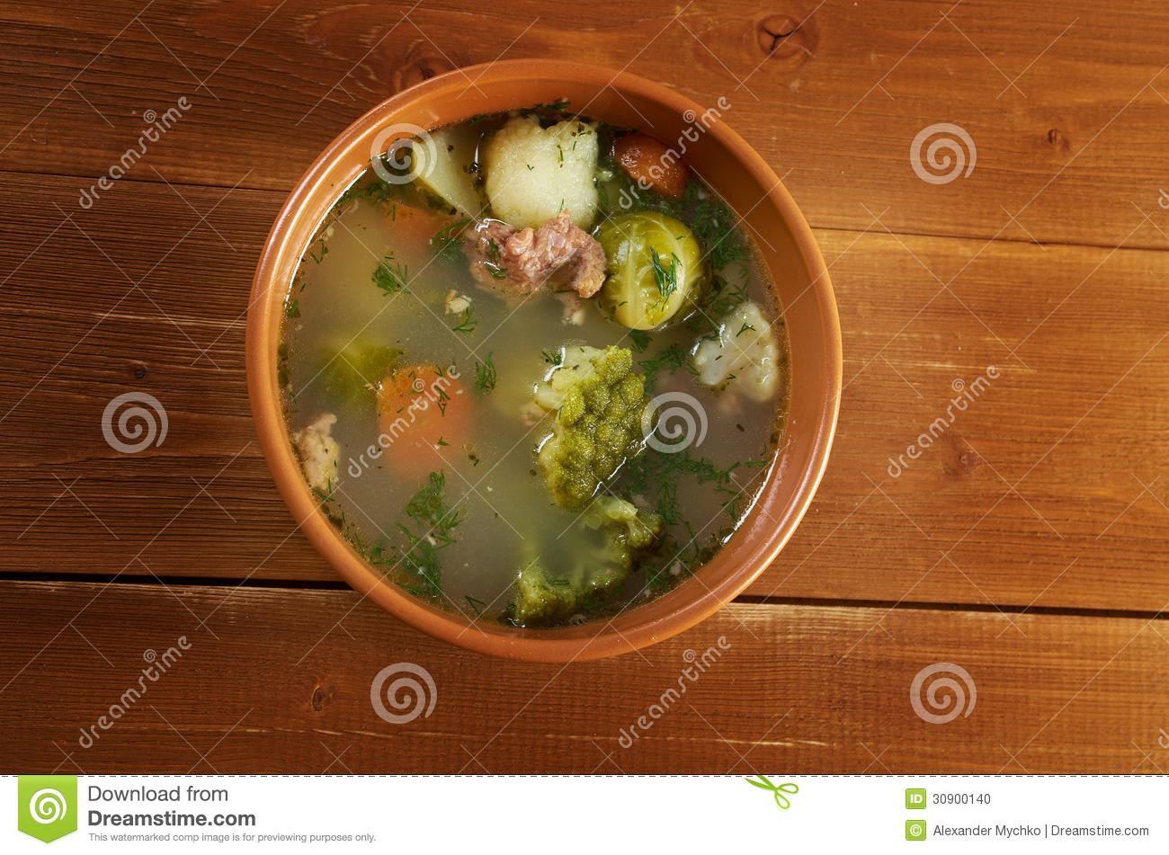 Italian farm-style country vegetables soup with broccoli.