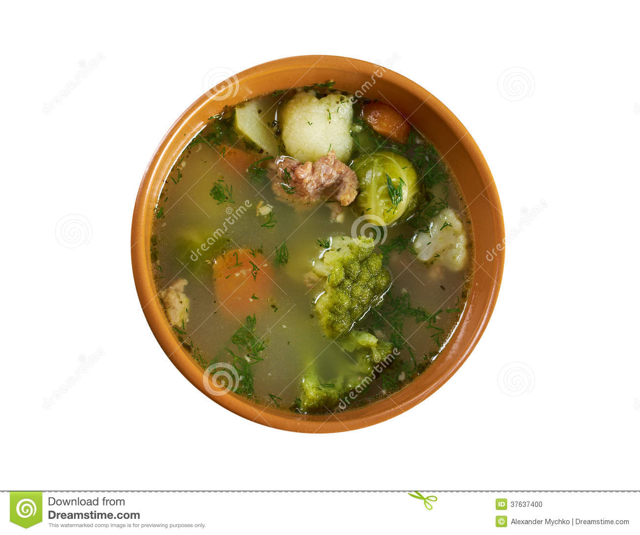 Italian farm-style country vegetables soup with broccoli ..isolated.