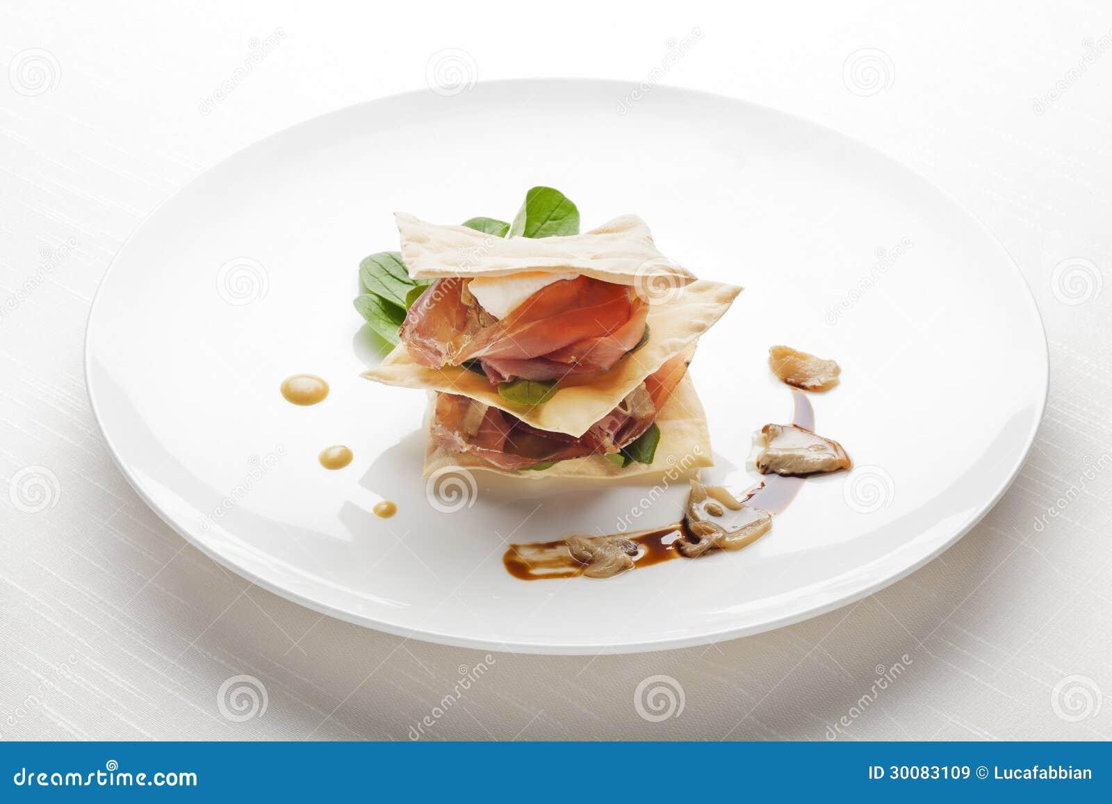 Italian Fine Dining Appetizer Millefoglie Di San Daniele E Porcini