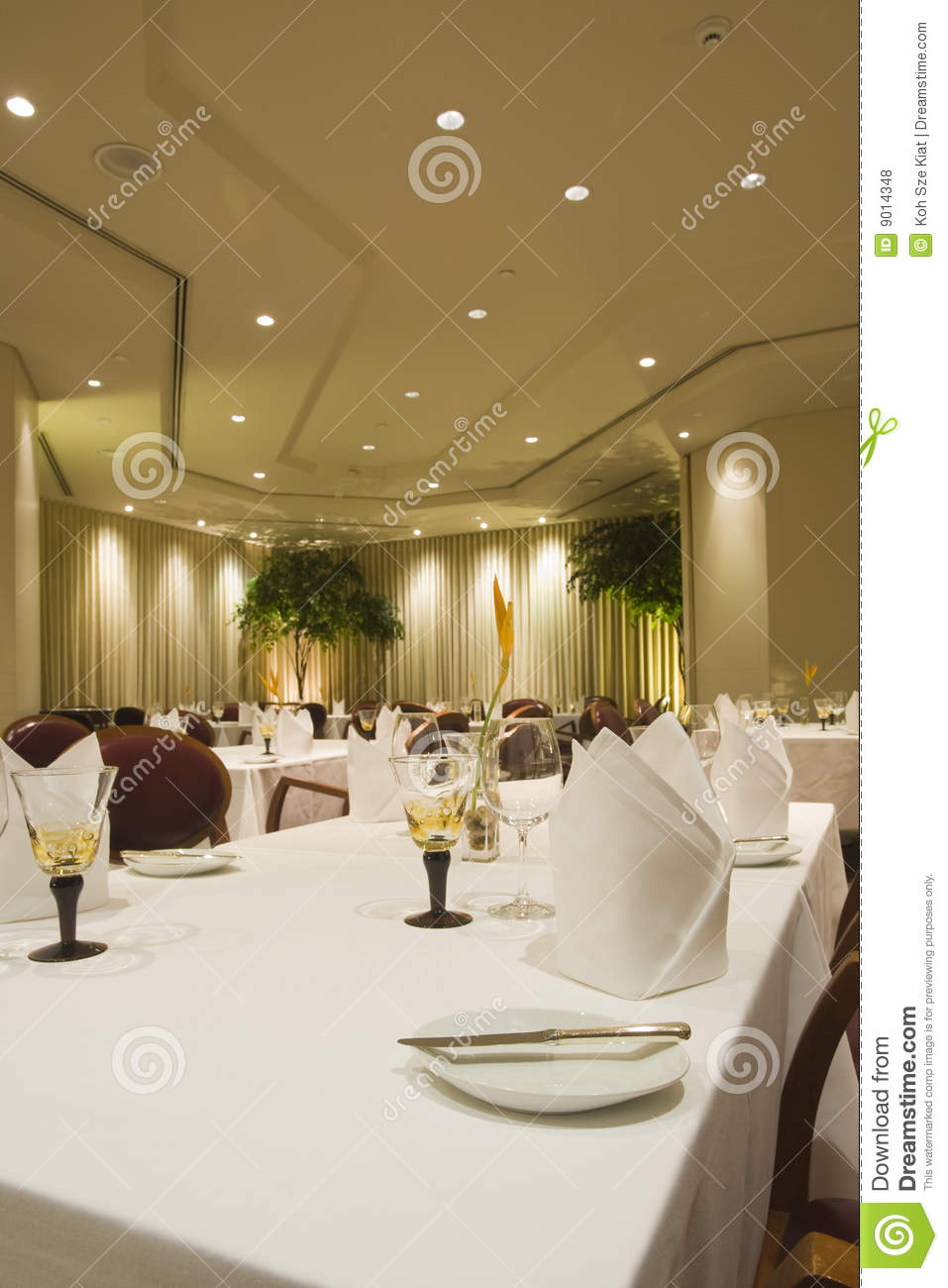 Italian fine dining restaurant interior stock photo
