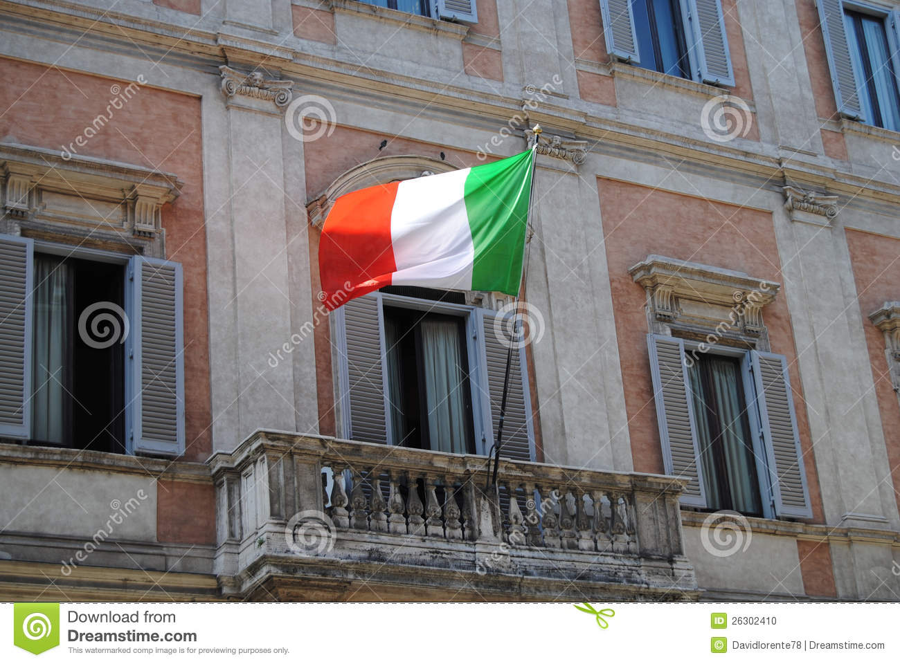 Italian flag on a balcony in rome stock photo image for Balcony in italian