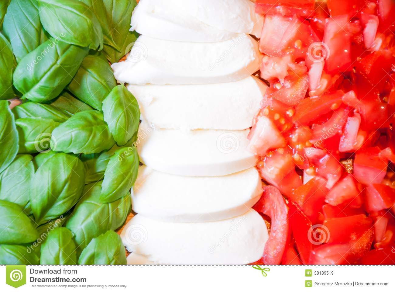 Italian flag from food