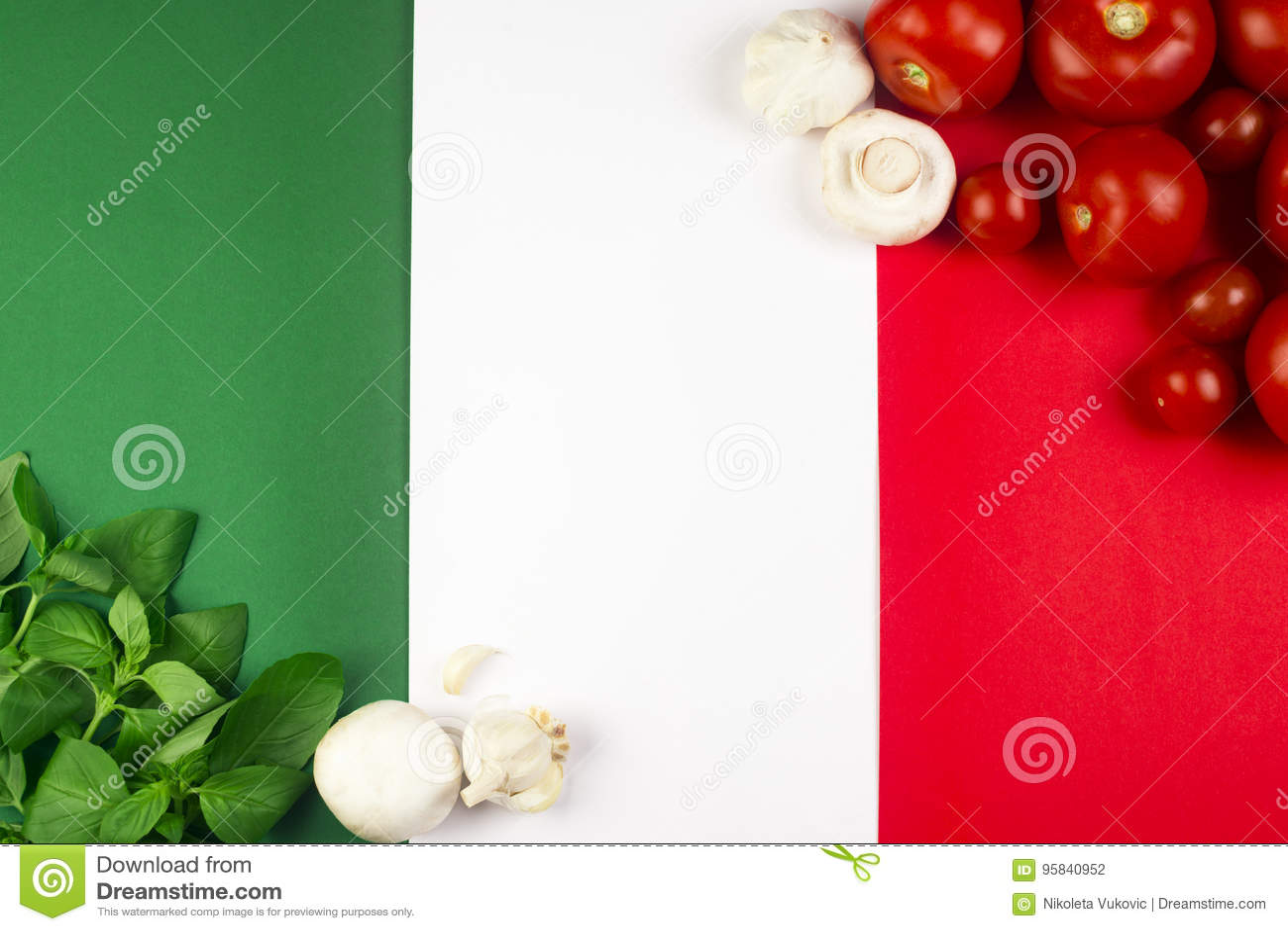 Italian flag with food