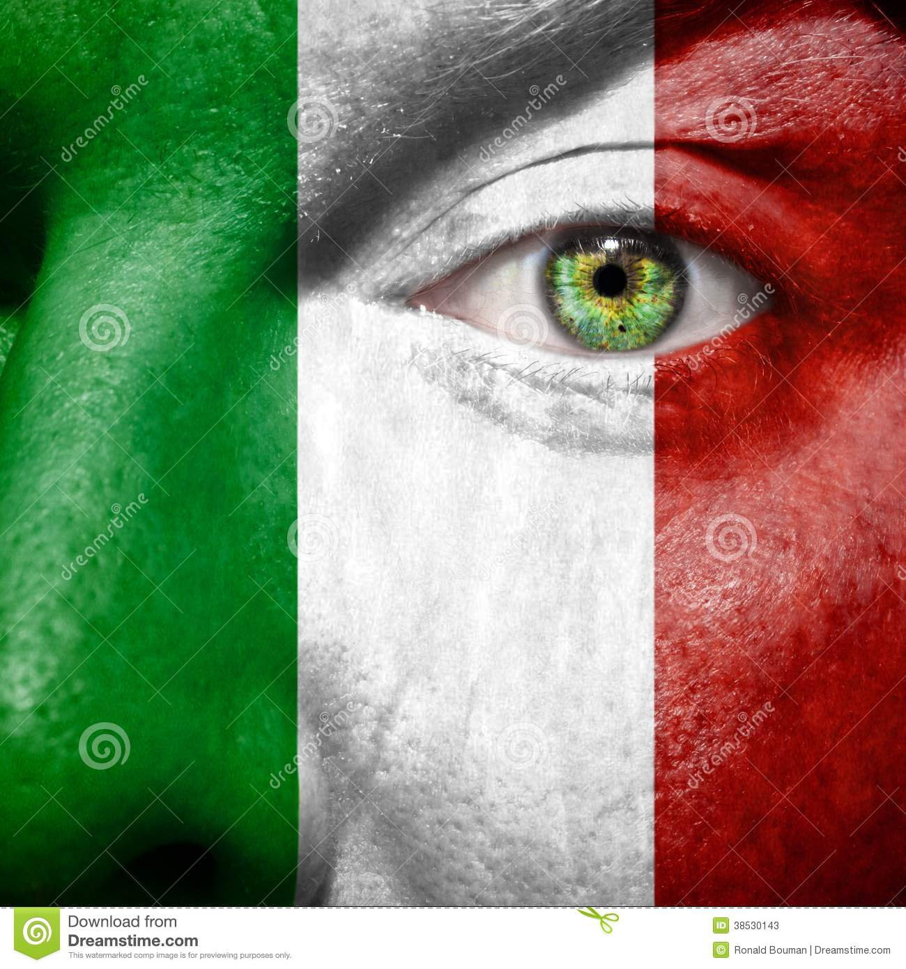 Italian flag painted on mans face