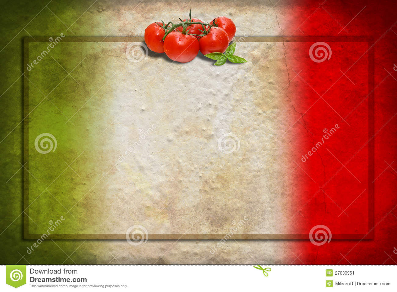 italian flag with tomatoes and frame stock image image