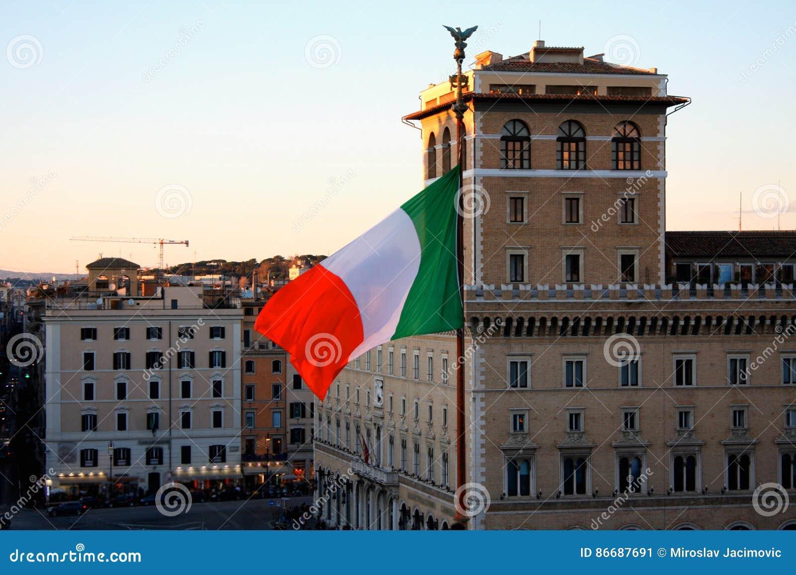 Italian flag on Venezia Square, in Rome, Italy