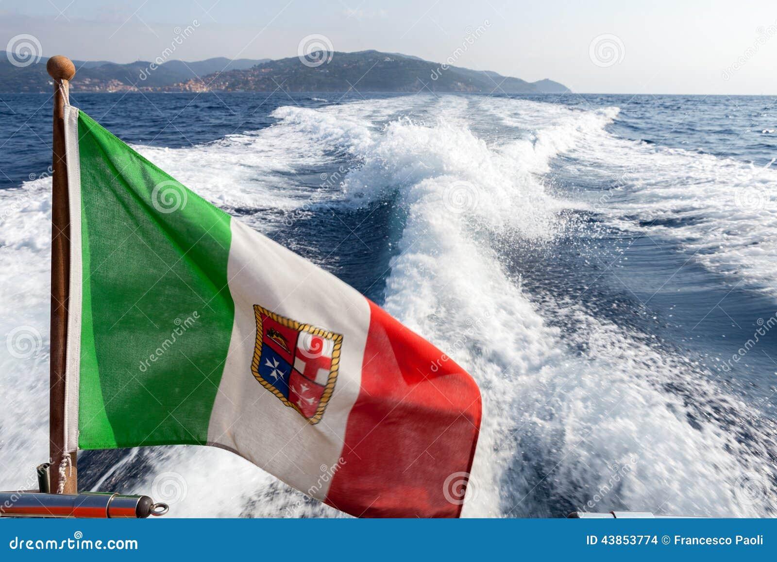 Italian Flag On Yacht. Argentario, Italian Coast Stock Photo - Image: 43853774