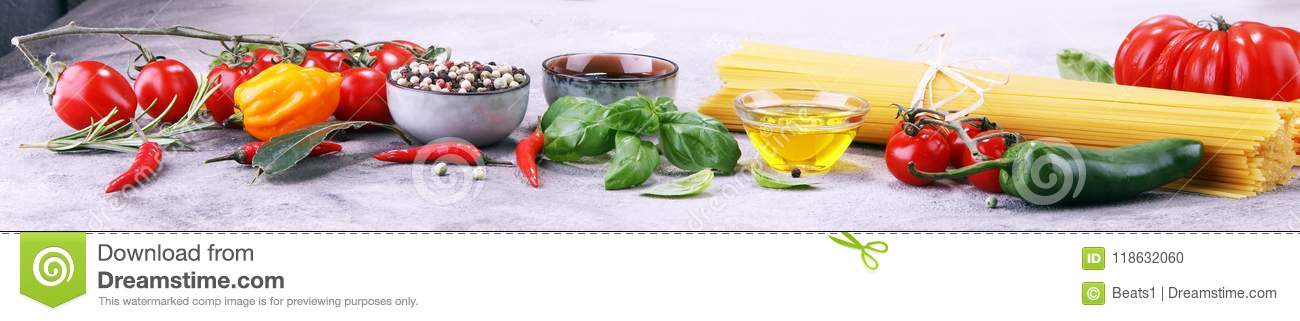Italian food background with different types of pasta, health or