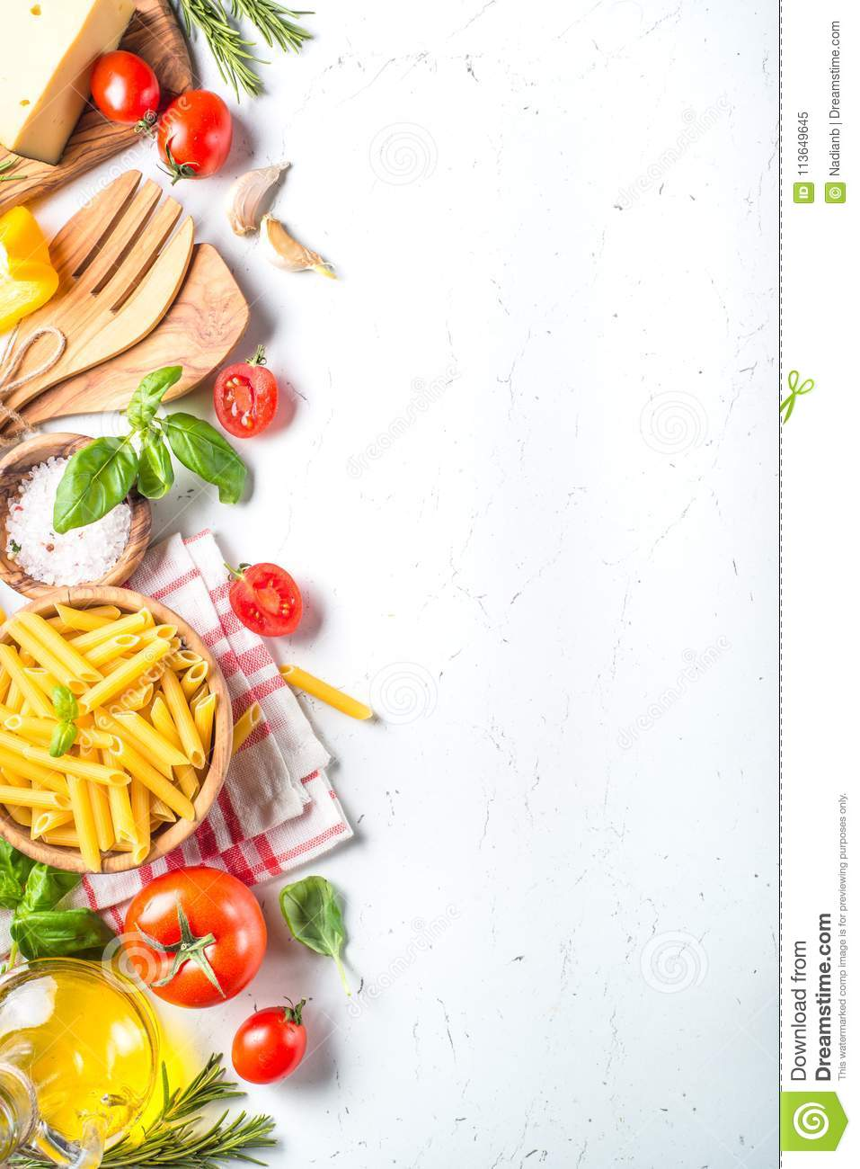 Italian Food Background On White Top View. Stock Image - Image of ...
