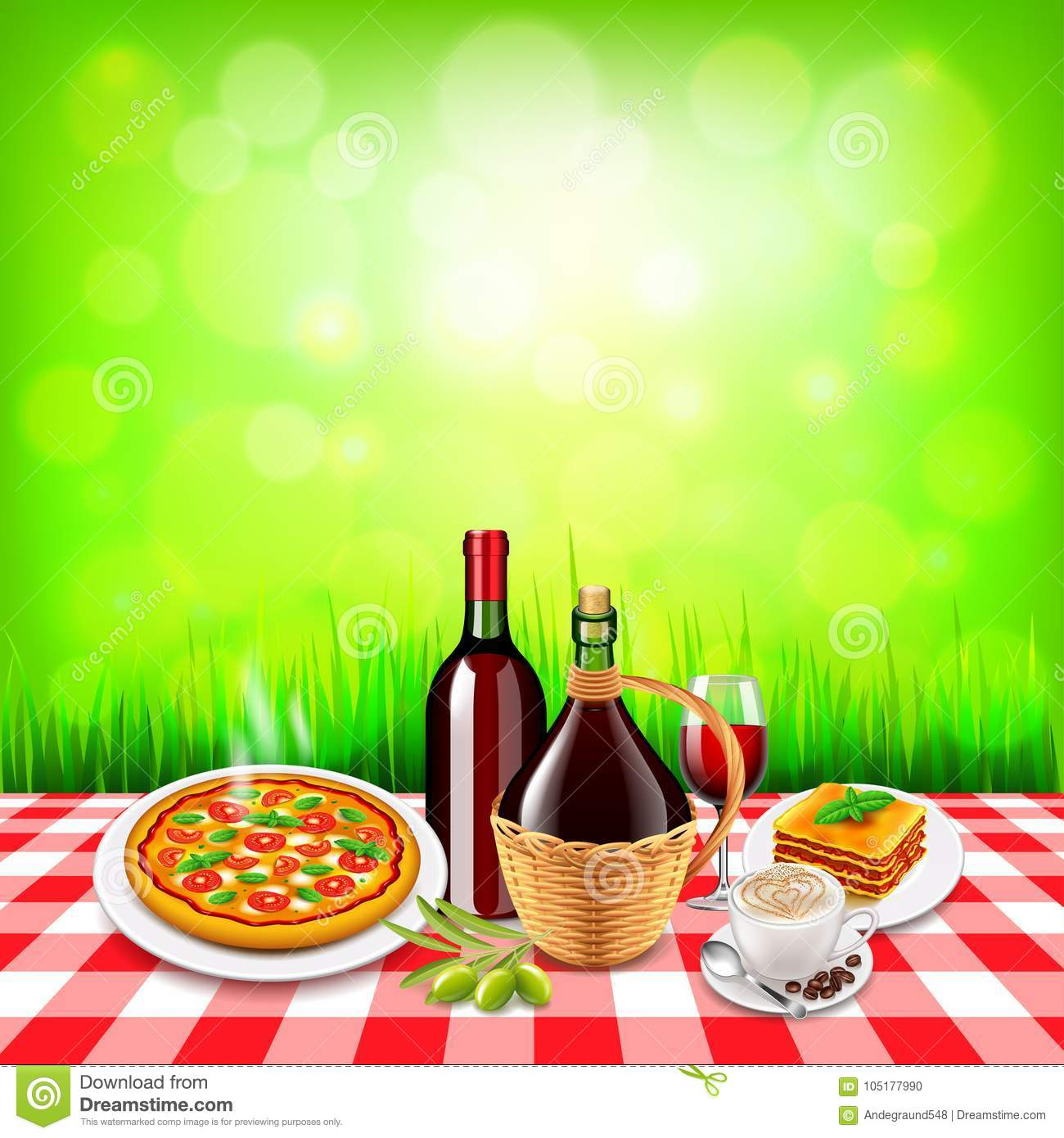 Italian food on checkered tablecloth table and green for Cuisine on the green