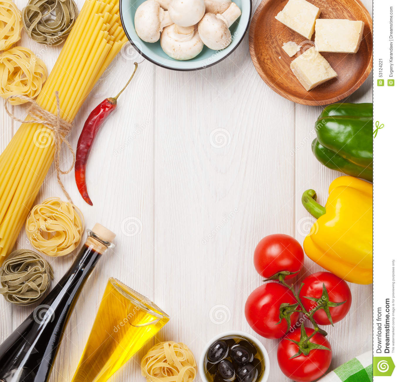 Italian food cooking ingredients pasta tomatoes peppes stock royalty free stock photo forumfinder Images