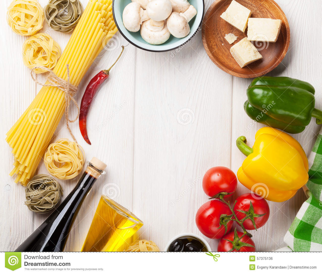 Italian Food Cooking Ingredients. Pasta, Tomatoes, Peppes Stock ...