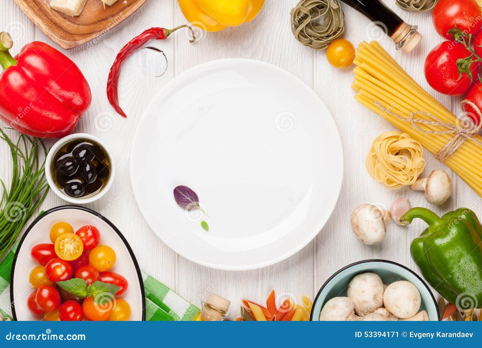 Italian Food Cooking Ingredients Pasta Vegetables