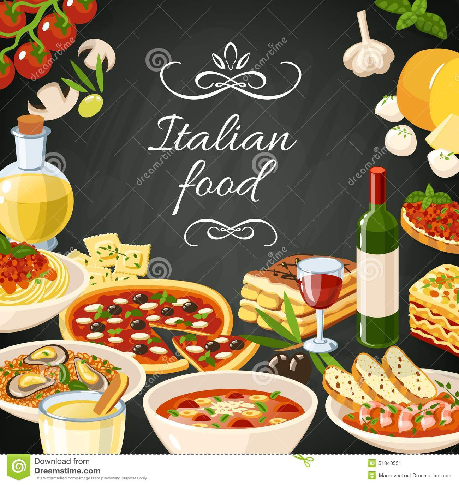 Italian Food Illustration Stock Vector Image 51840551