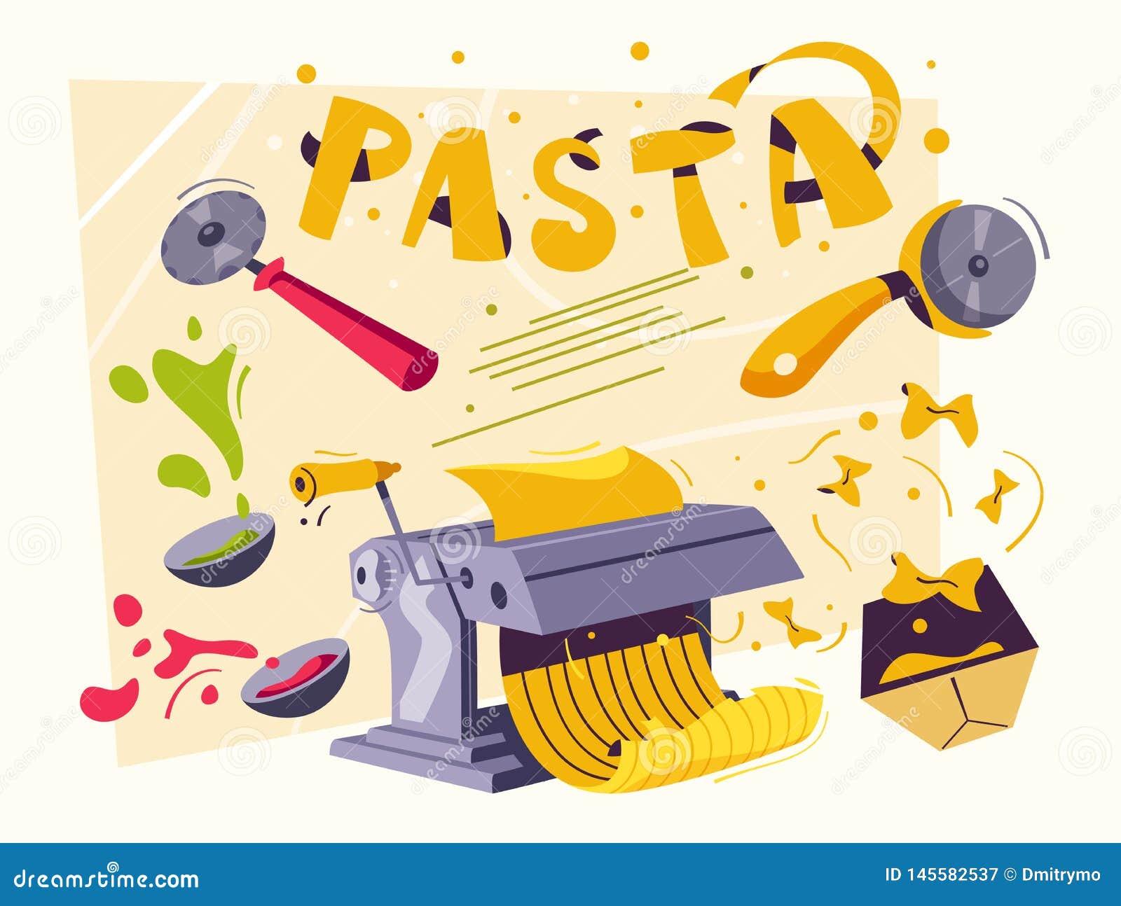 Italian food. Making delicious pasta. Cartoon vector illustration.
