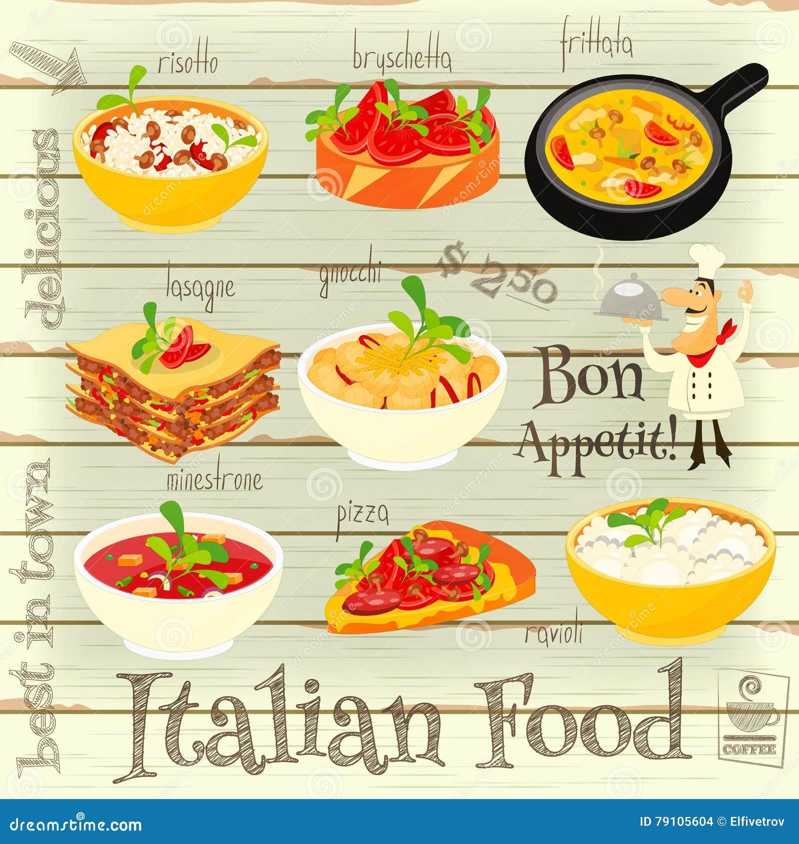 Frittata cartoons illustrations vector stock images - Italian cuisine menu list ...