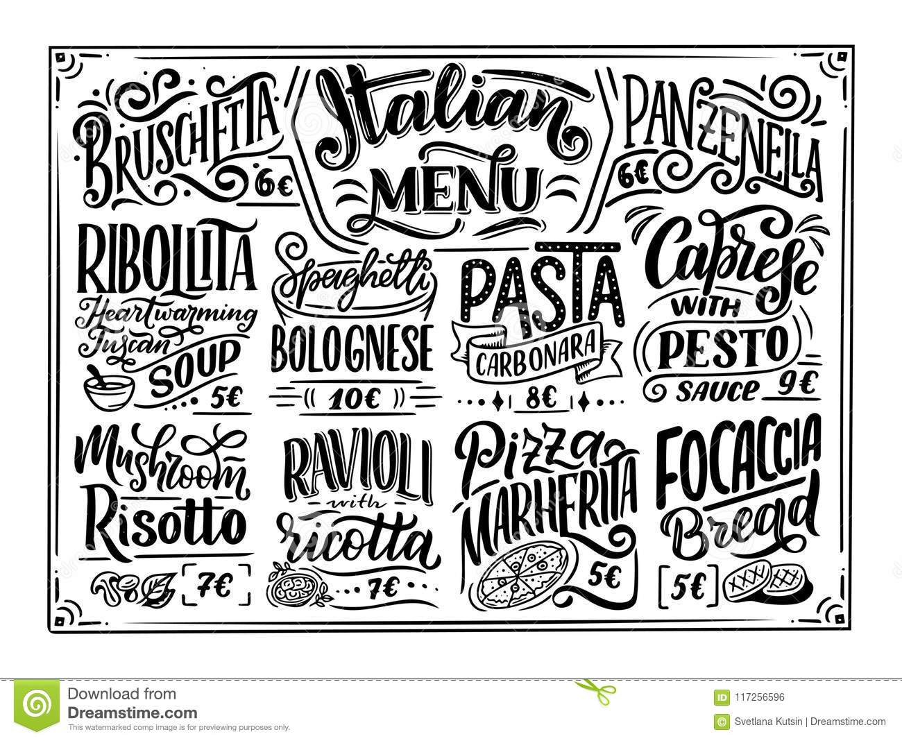 Italian Food Restaurant Names: Names Of Dishes. Lettering Phrases For