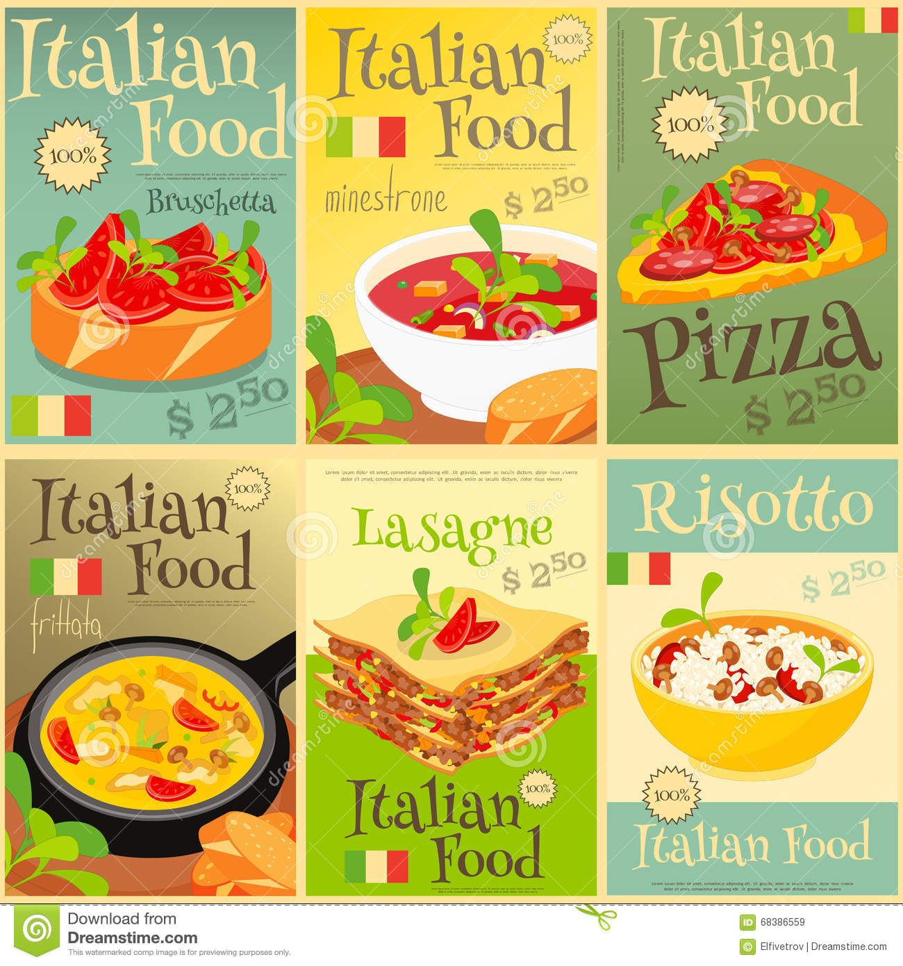 italian food posters set stock vector illustration of pasta 68386559. Black Bedroom Furniture Sets. Home Design Ideas