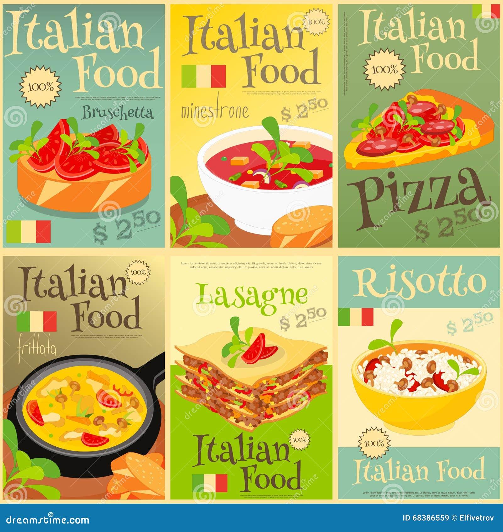 Italian food posters set stock vector illustration of for Italian snacks