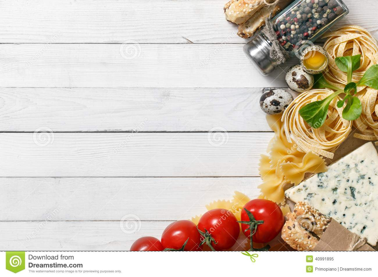Italian Food Recipe On Rustic Wood Stock Photo - Image ...