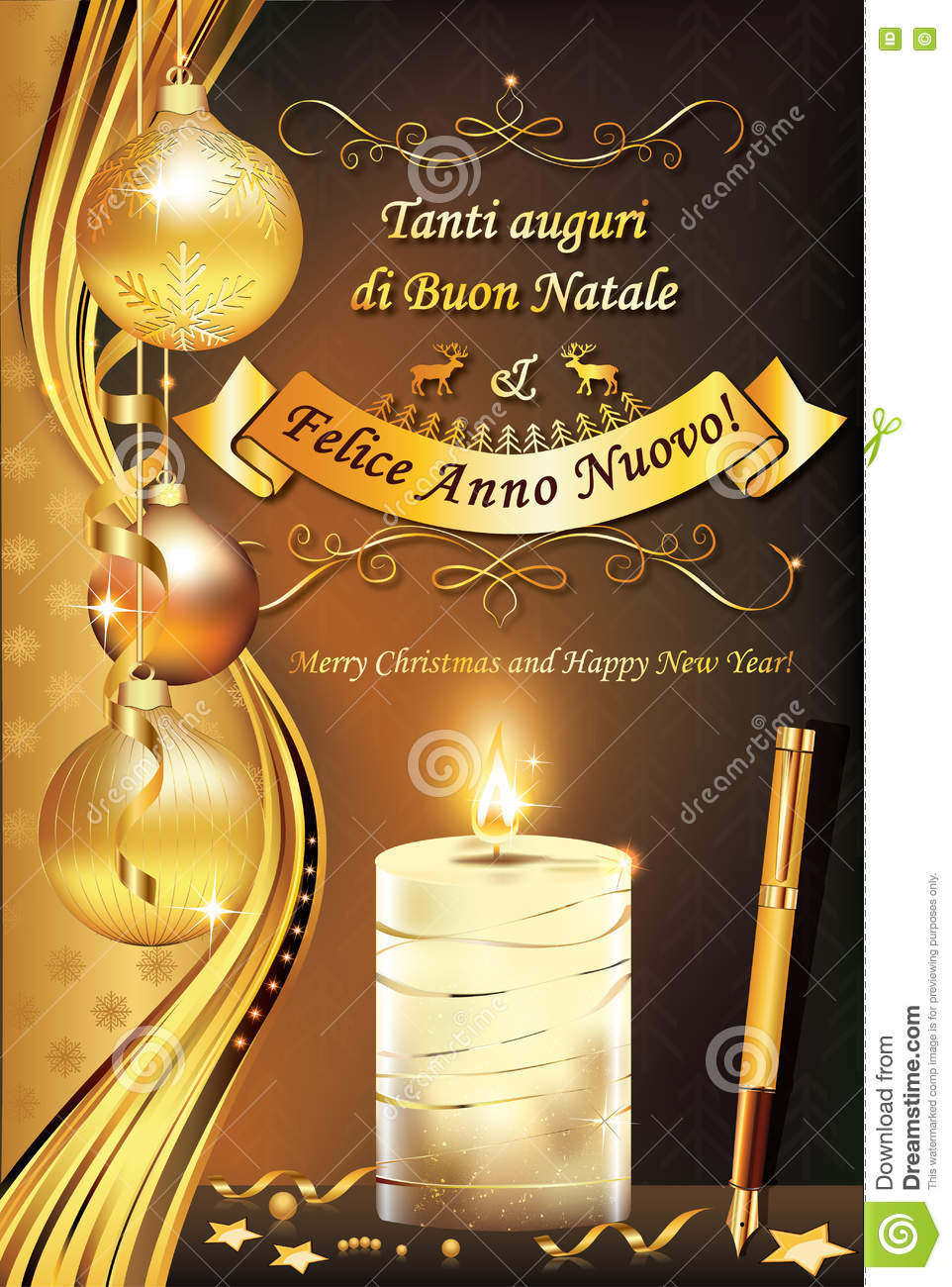 Auguri Di Buon Natale Merry Christmas.Italian Greeting Card For Winter Holiday Stock Illustration