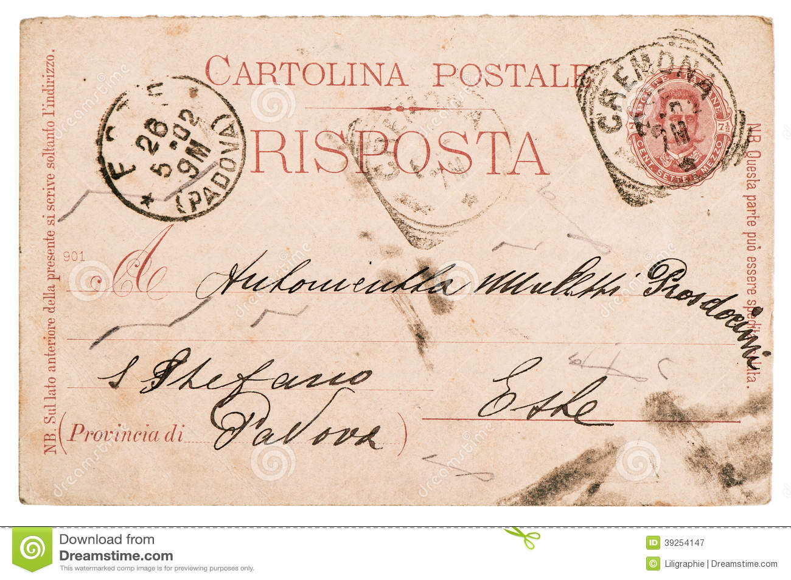 Italian handwritten postcard letter stock photo image 39254147 - Handwritten Italian Letter Old Paper Postcard