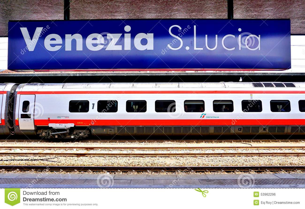 An Italian high speed train at the Venice station