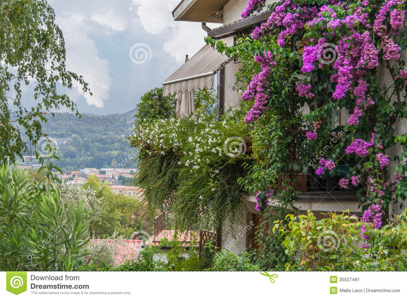Download Italian House With Bougainvilleas Stock Image - Image of italy, village: 35527481