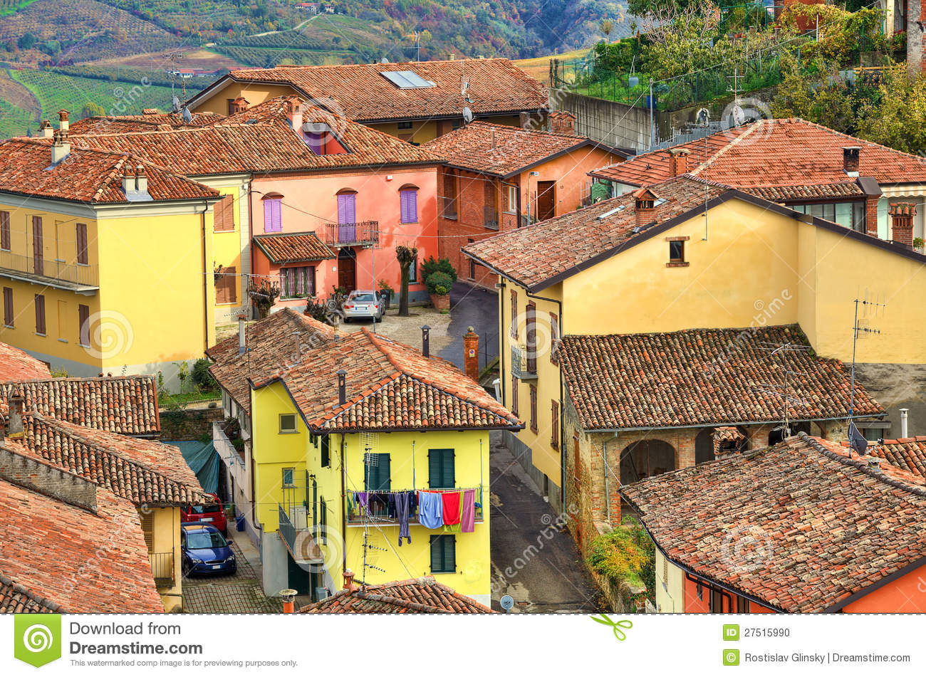 Italian Houses Diano D 39 Alba Italy Stock Photo Image