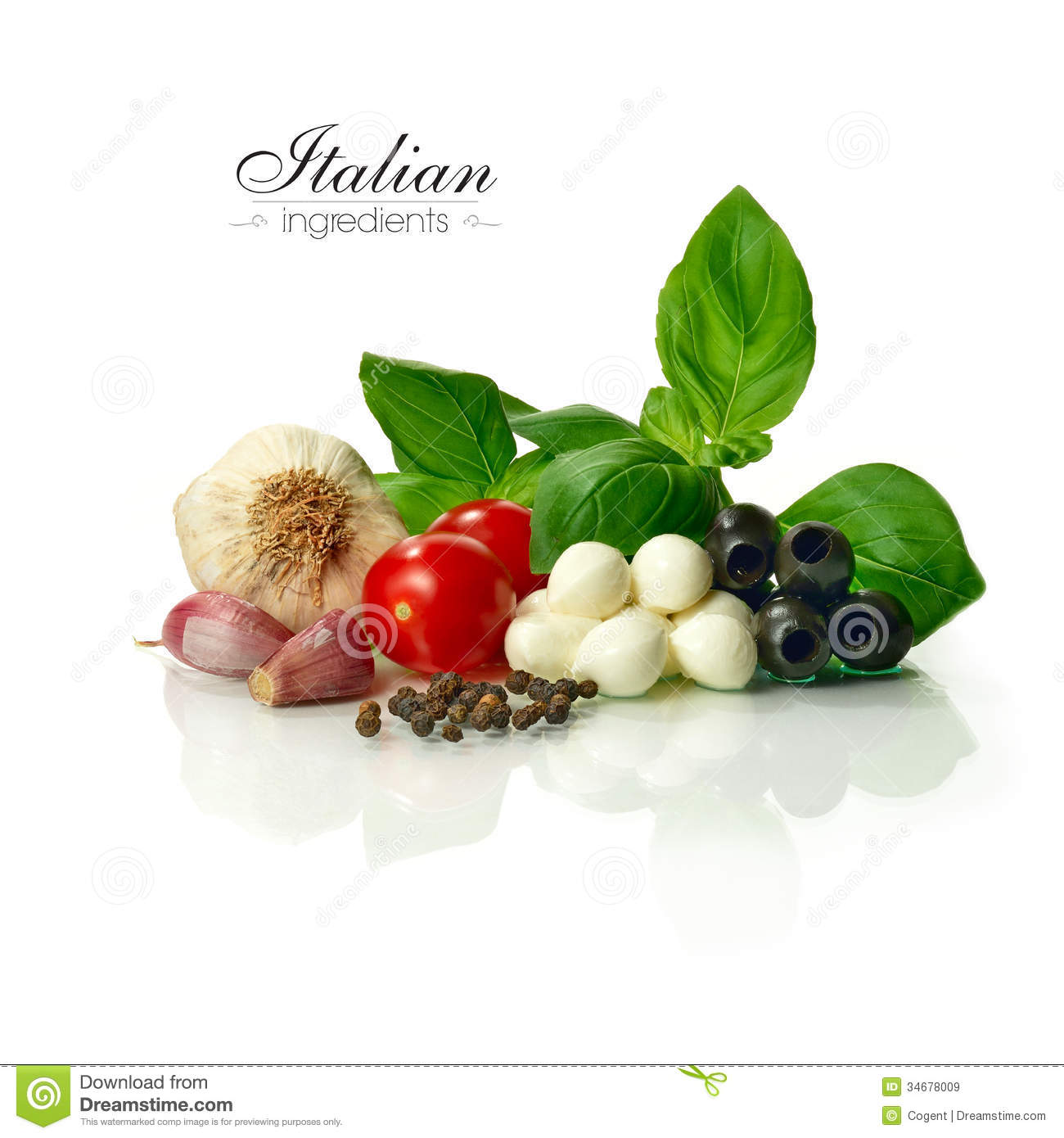 Bright and sharply focused selection of fresh Italian food ingredients ...