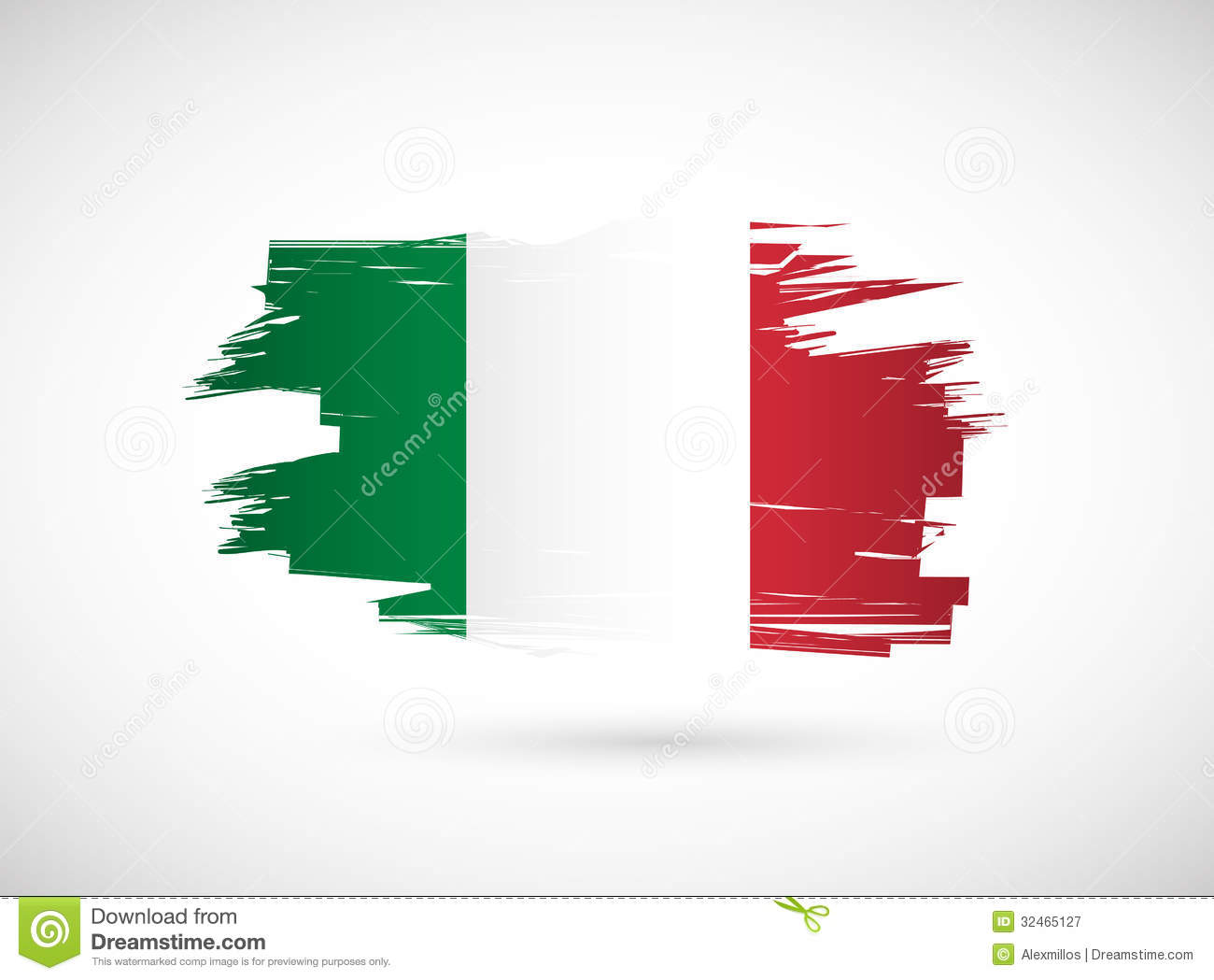 Favoloso Italian Ink Brush Flag Illustration Design Stock Illustration  HB38