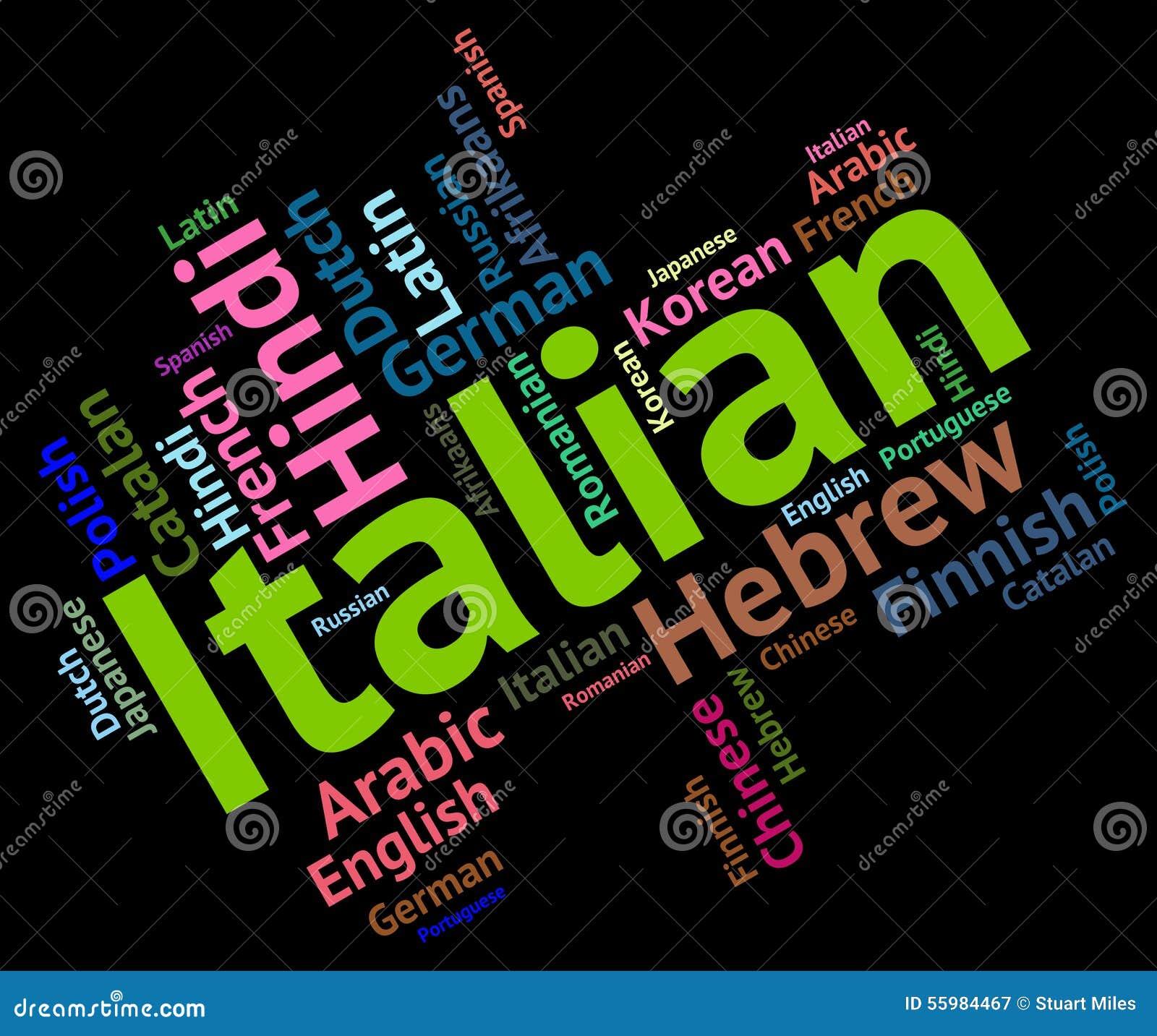Italian Language Translation To English: Italian Language Shows Foreign Translate And Vocabulary