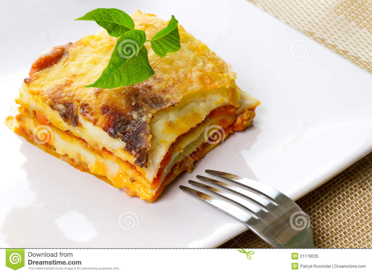 Italian lasagna on plate