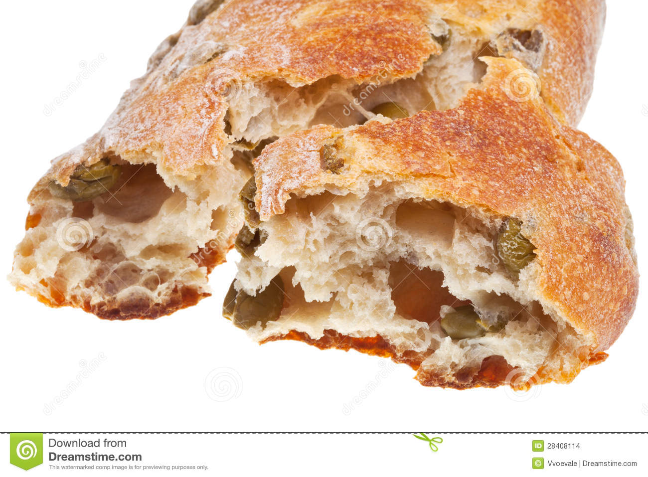 Italian Mediterranean Bread With Green Olives Stock Images - Image ...