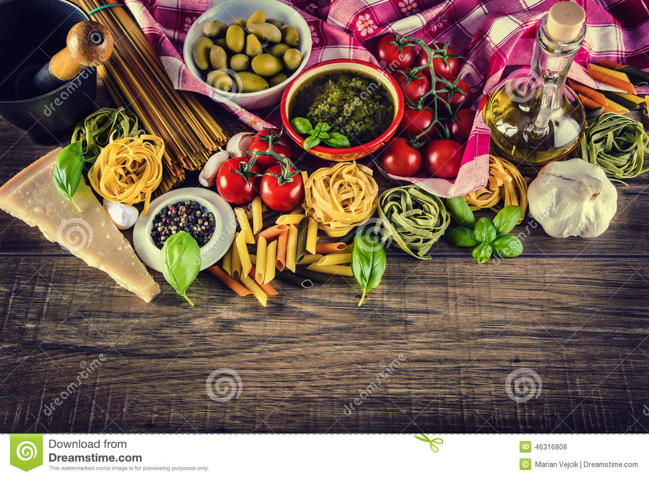 Download Italian And Mediterranean Food Ingredients On Old Wooden Background. Stock Photo - Image of herbs, ingredient: 46316808