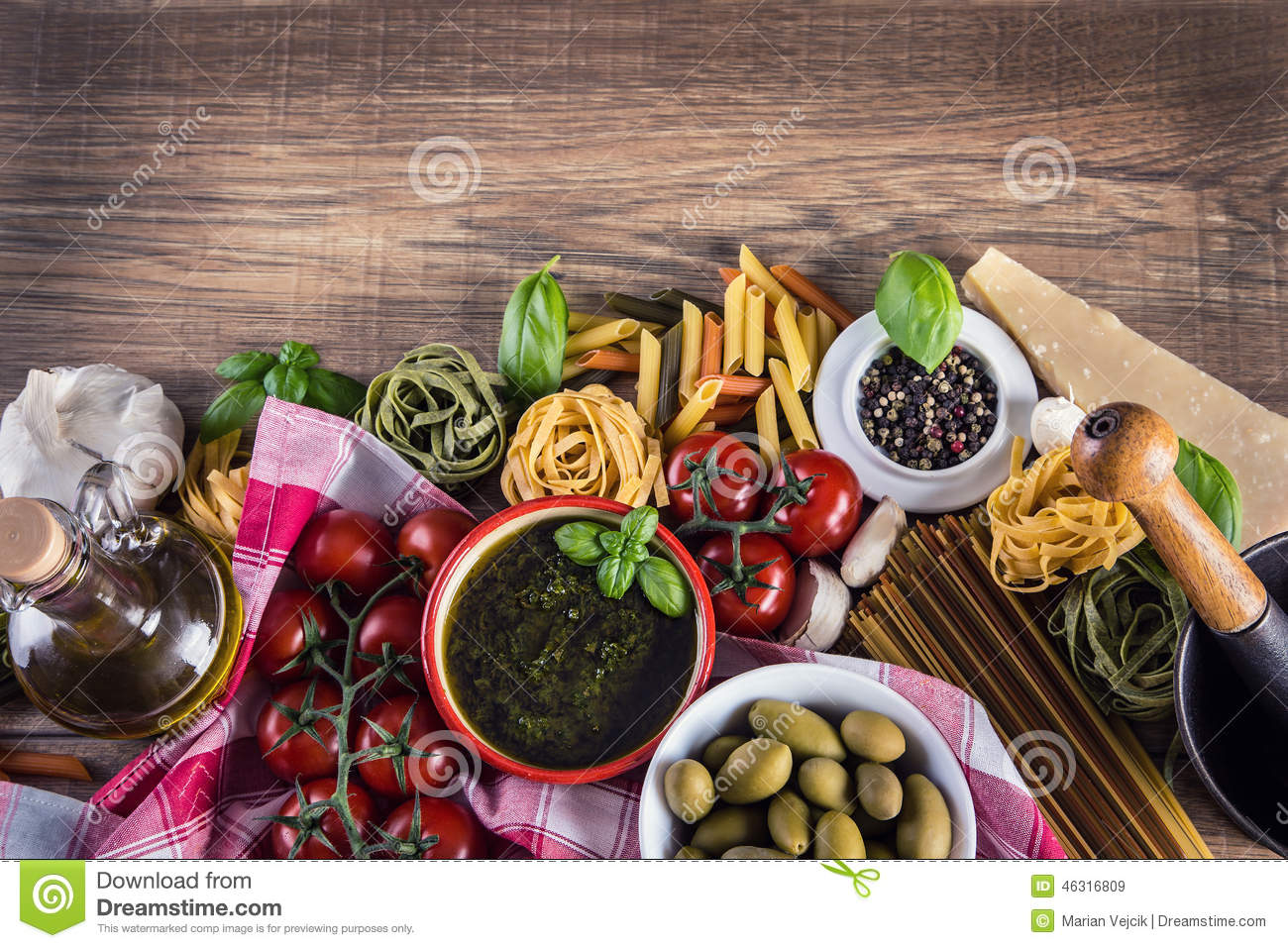 Italian and mediterranean food ingredients on old wooden for Cuisine wooden