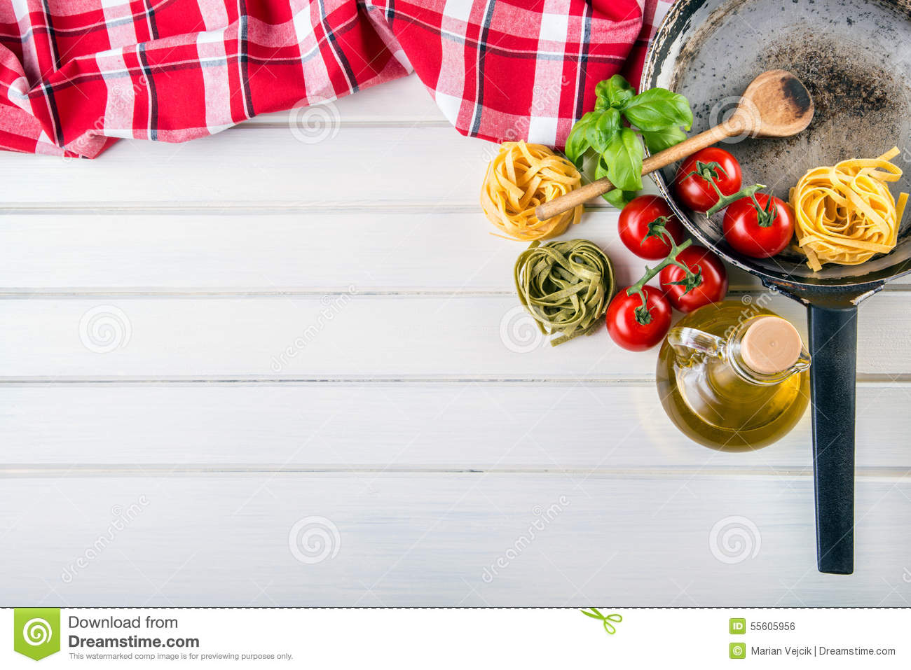 Italian And Mediterranean Food Ingredients On Wooden Background ...