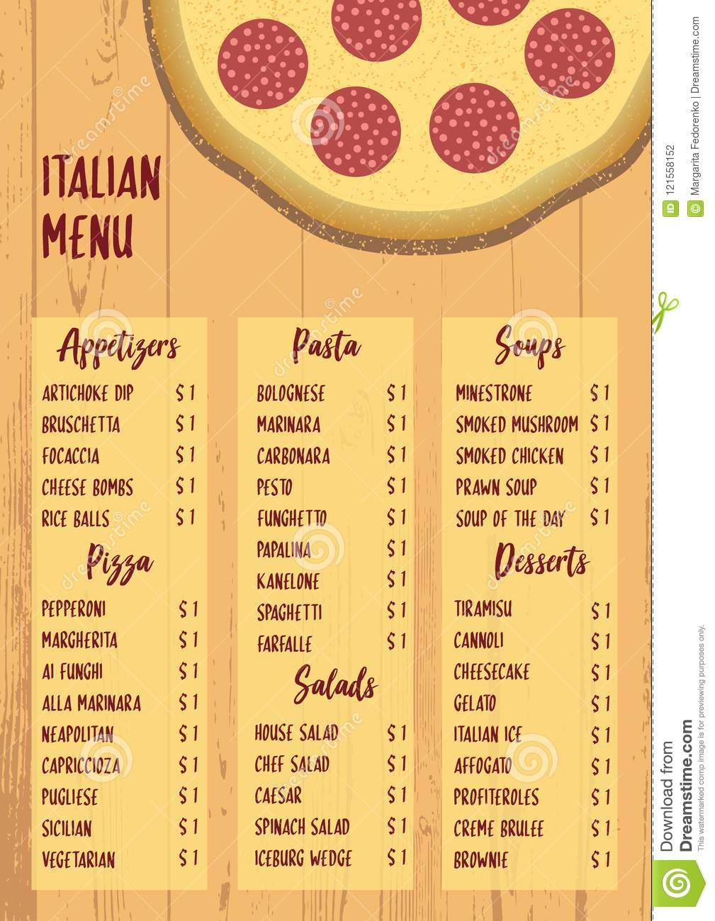 italian menu on textured wood background stock vector