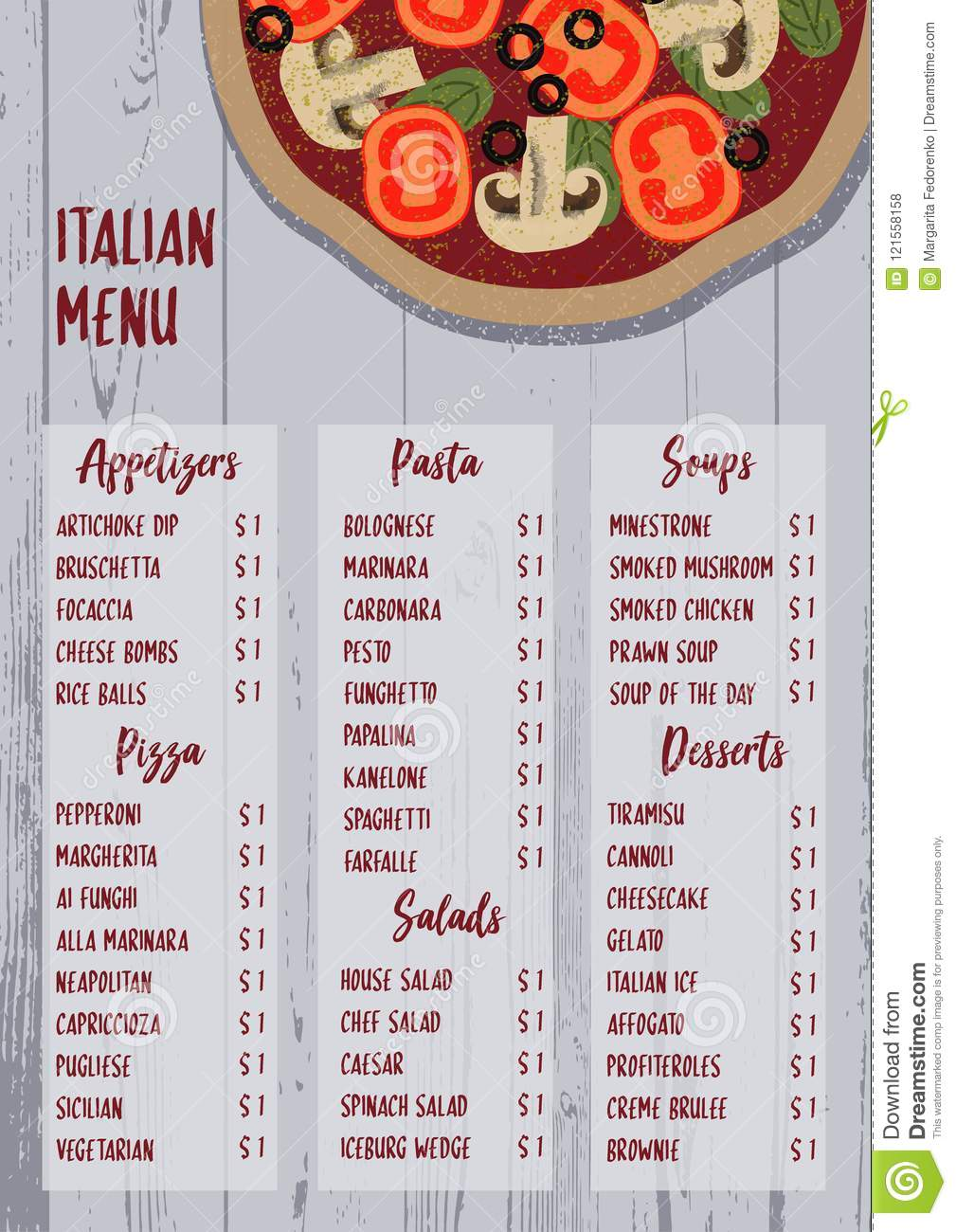 italian menu on textured wood background. stock vector