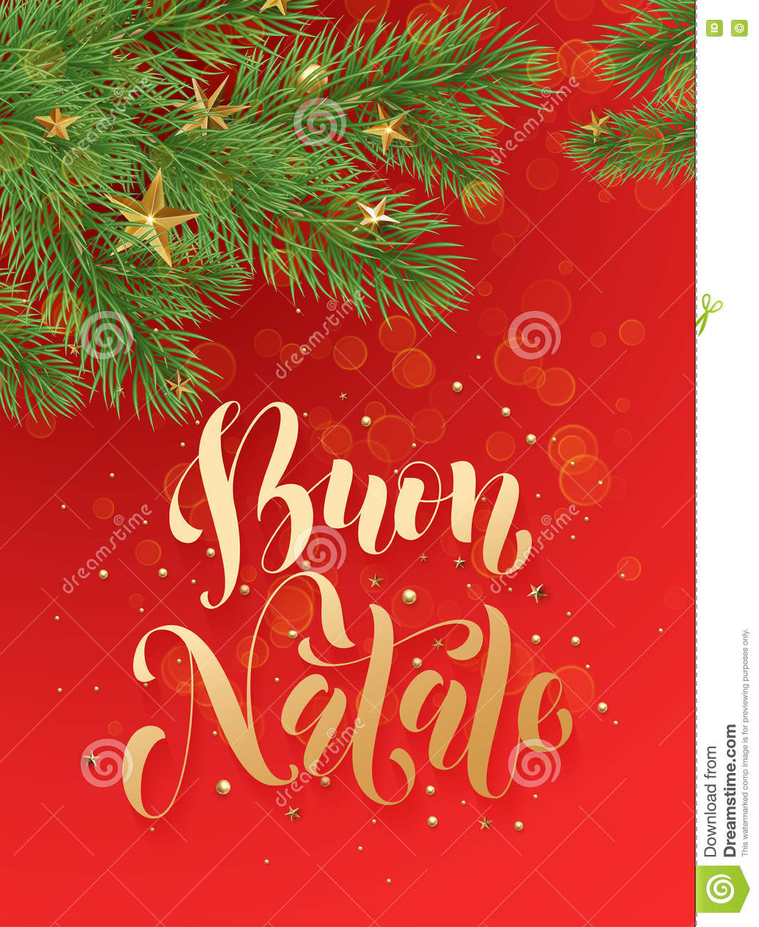 Merry En: Ornaments And Text Buon Natale, Merry Christmas In Italian