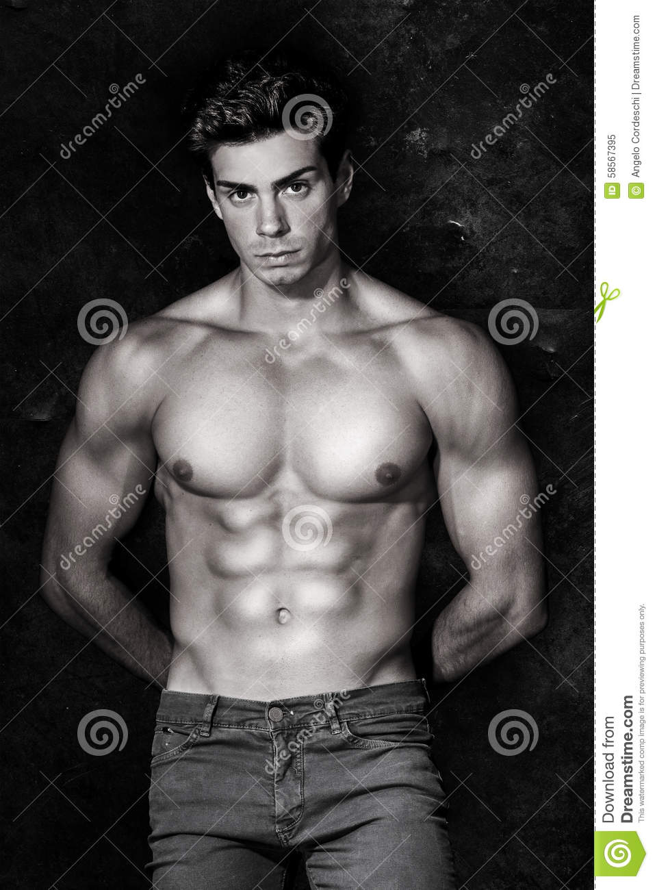 italian model muscular man. nude portrait. black and white stock